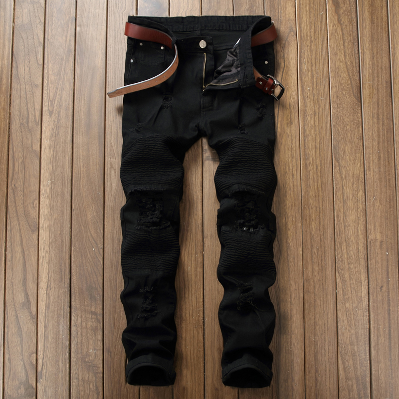 Black Motorcycle   Jeans   Men 2017 Autumn Fashion Hi Street Fold Design Ripped   Jeans   Men Casual Elastic Mens Skinny   Jeans   Homme 40