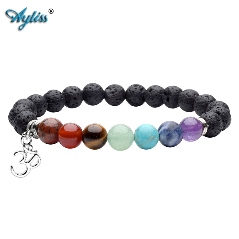 prayer color balance item bracelet from muti chakra rhinestone charm reiki healing men lava design women black mens bracelets stones beads for in