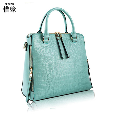 91654e9819f XIYUAN BRAND women Real Patent leather blue handbags Crocodile Fashion  design shopper tote bag Female luxurious shoulder bags