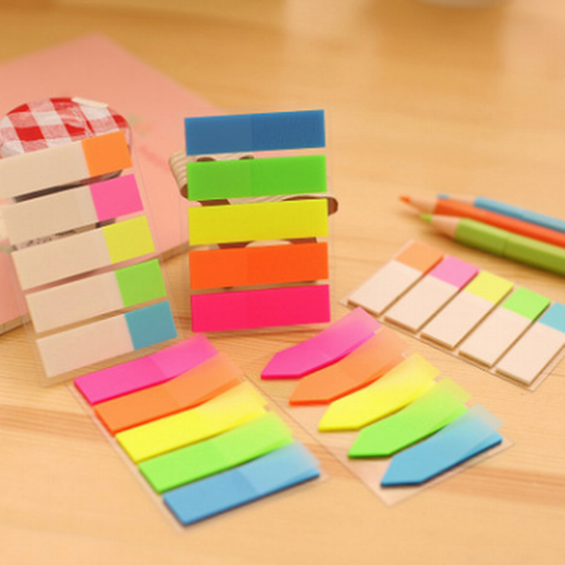 DHL Wholesale 300Set Colorful PET Memo Paper Sticker Kawaii Rainbow Index Post It Sticky Notes Stationery Office School Supplies