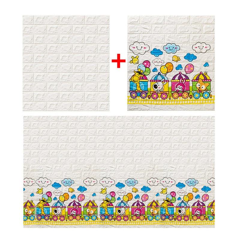 3D Brick Wall Stickers Living Waterproof Foam Room Bedroom DIY Adhesive Wallpaper Art 77*70*0.6 Cm  Home Wall Decals