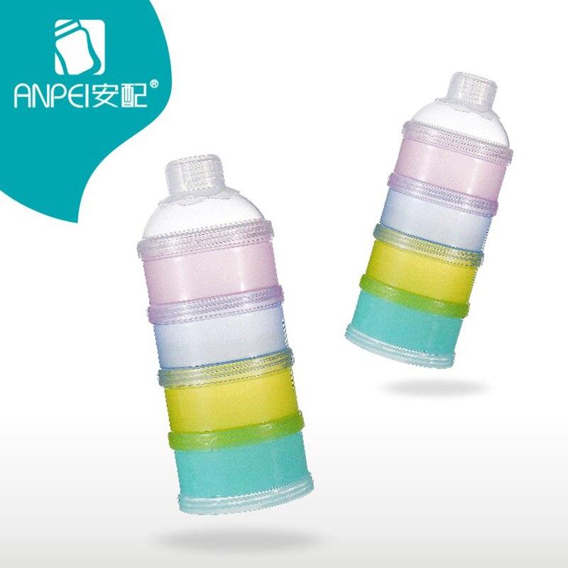 Solid Portable Baby Feeding Milk Powder Food Bottle Container 4 Layer Grid Box Infant Storage Dispenser Travel Storage Bins