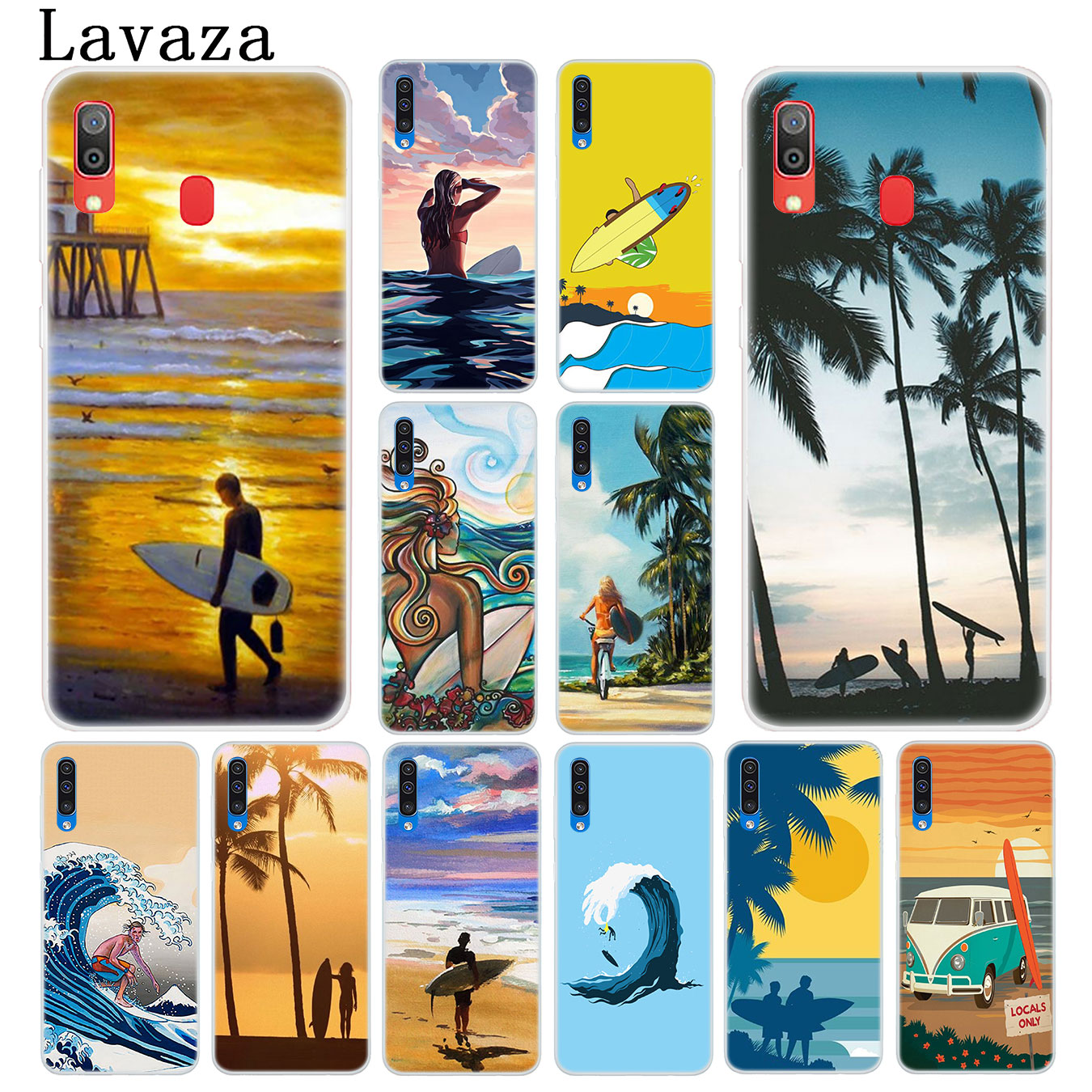 Lavaza surfboard surfing art surf Girl Hard Phone Case for Samsung Galaxy A10 A20 A30 A40 A50 A60 A70 M40 M30 M20 M10 A20e Cover image