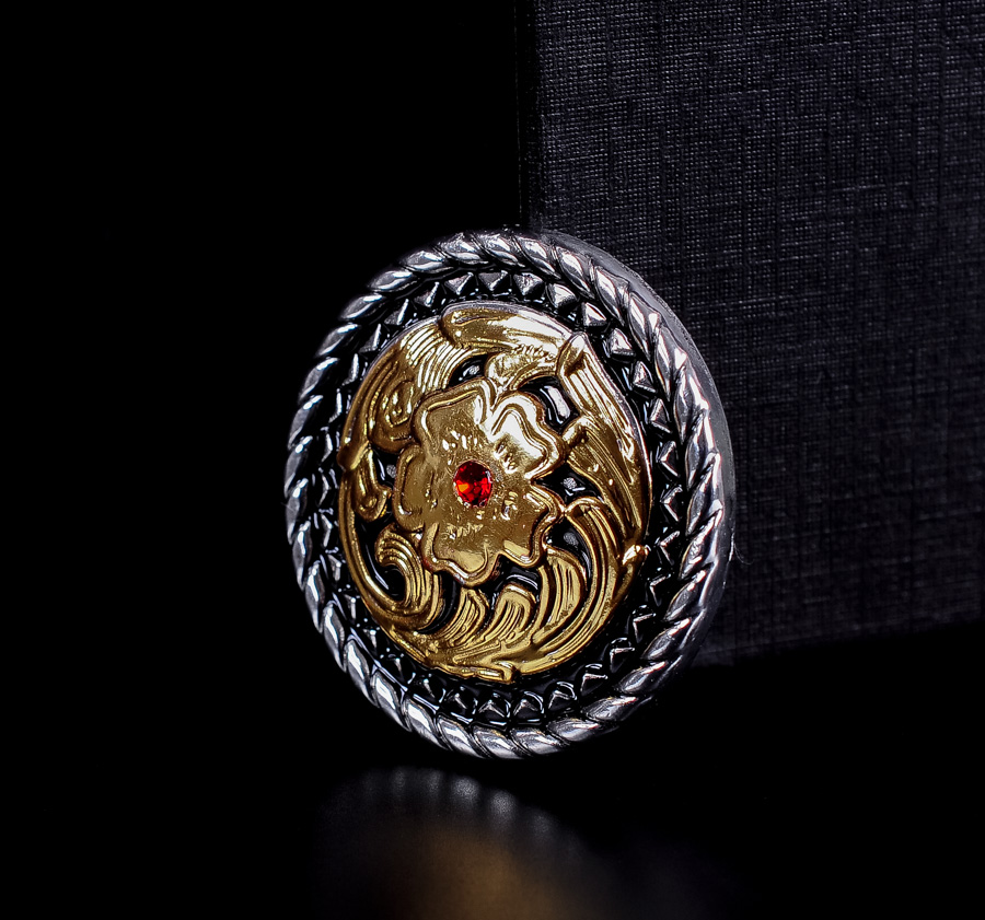 "Western Equestrian Cowboy Decor Set of 6 Antique Gold Star 1/"" Conchos"