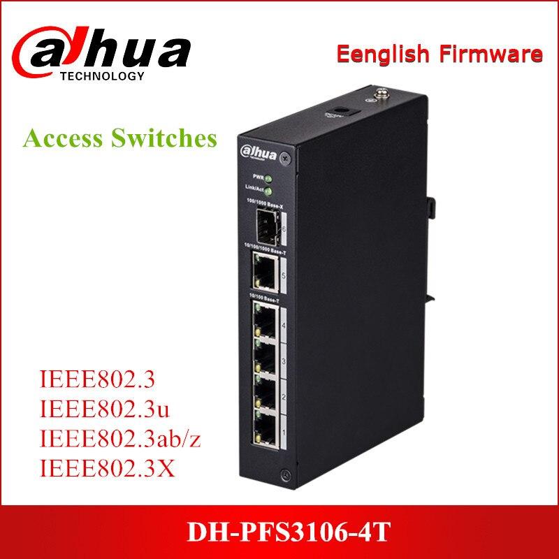 Güvenlik ve Koruma'ten CCTV Aksesuarları'de Dahua Erişim Anahtarları DH PFS3106 4T Yönetilmeyen 4 Port Ethernet Anahtarı 2 katmanlı endüstriyel seviye anahtarı title=