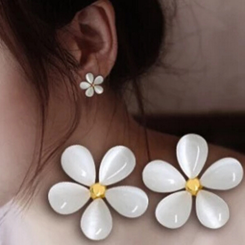 Zerotime #H5 Flower Ear Nail Pure White Cherry Ear Nail A Birthday Present Gift elegant brinco Ohrring Wholesale Free Shipping