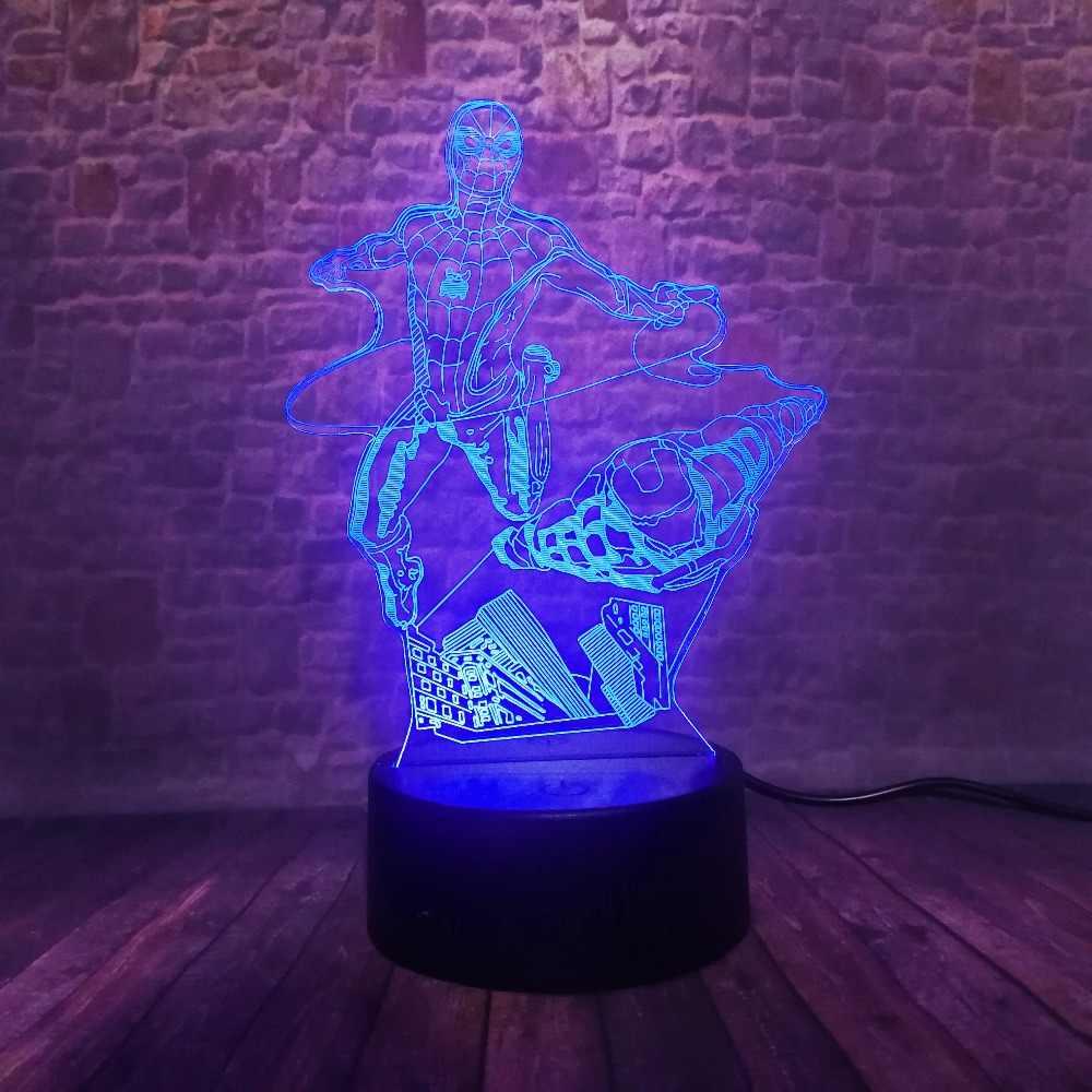 Новинка Marvel Мстители мультфильм супергерой Человек паук Железный человек 3D настольная лампа Настроение Ночной светильник USB светодиодный Детский подарок игрушки