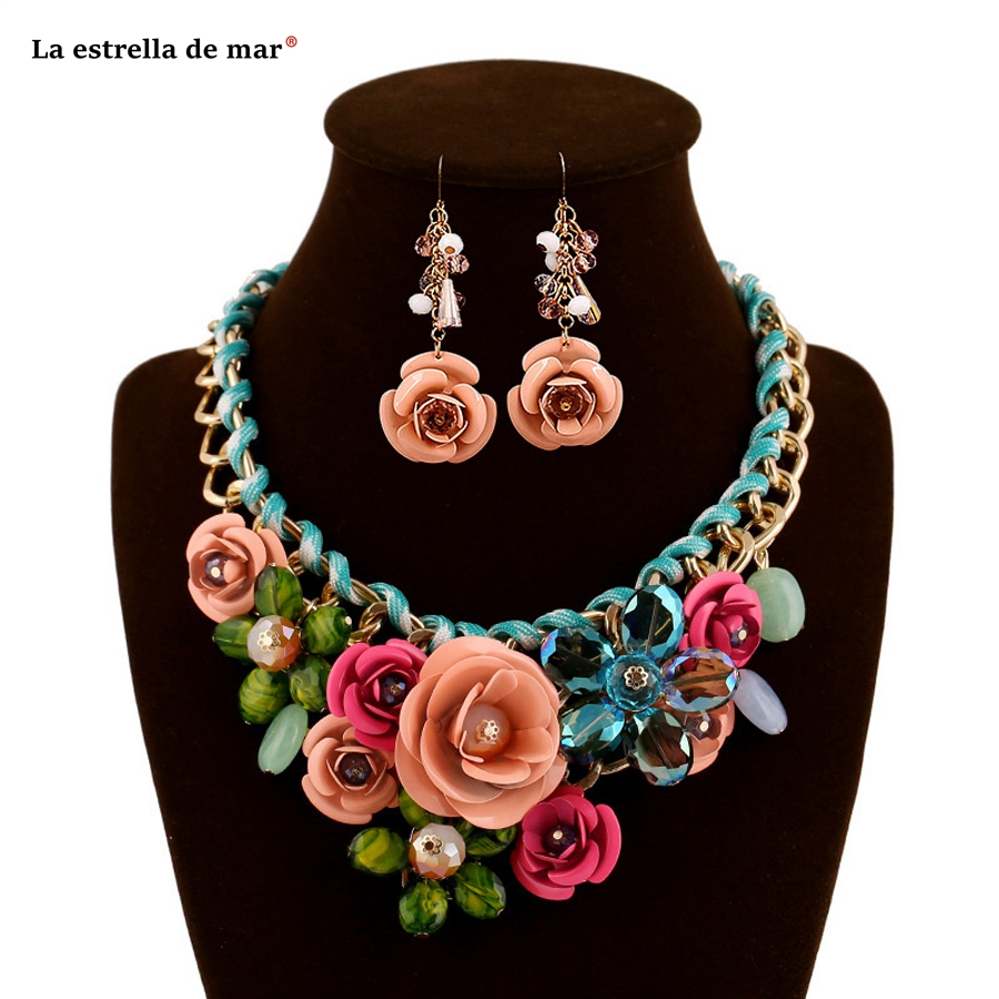 Jewelry sets latest flower crystal earring necklace nigerian beads necklace jewelry set wholesale acero inoxidable joyeria mujer