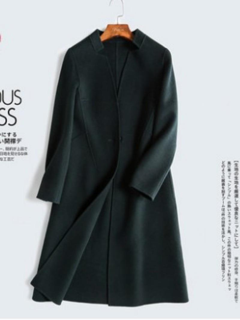 Fabulous Navy Blue Woolen Overcoat Women Woolen Jacket Coat Female Overcoat  NF16