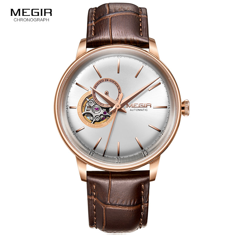 Men's Business Casual Mechanical Wrist Watches Leather Strap Rose Gold Simple Hand Wind Mechanical Watch Relogios Man 62057GREBN soft leather mens mechanical wrist watch dragon pattern laser engraving carving gold black business men male hand wind watches