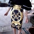2016 Nuevas de Impresión de Alta Cintura Lápiz Falda de Midi de Alta Elástico Paso Delgado Faldas de Las Mujeres