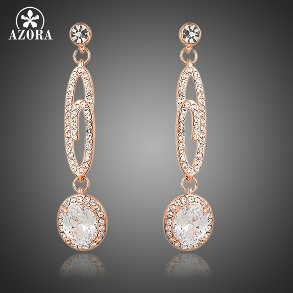 AZORA Rose Gold Color Big Dangling G with Round Clear AAA Cubic Zirconia Drop Earrings TE0171