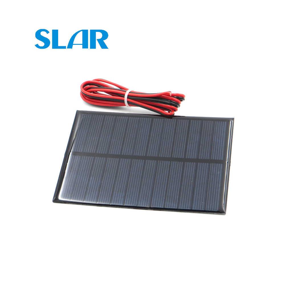 Panel Solar de silicio policristalino 6V 1,1 W con 100cm extender cable DIY módulo para cargador de batería Mini cable de célula Solar de juguete