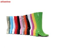Candy Color Woman Long Boots Hot Fashion Thick Heel Concise Style Knee High Boots Waterproof Female