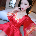 Red leisure sexy pajamas women 's summer two - piece long  sleeved lace harness pajamas silk new spring and autumn home clothin