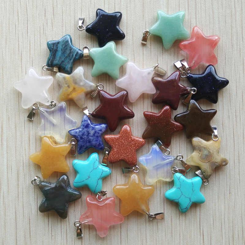 2017 Sıcak satış moda Çeşitli doğal taş karışık yıldız charms kolye DIY takı yapımı için 50 adet/grup Toptan ücretsiz