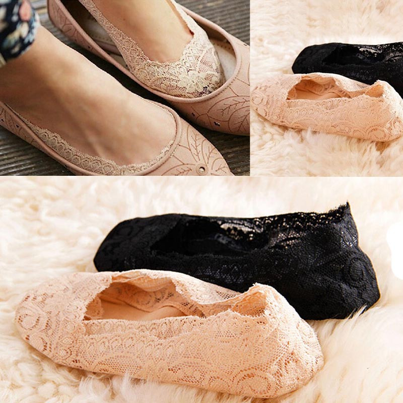 Cotton   Socks   Casual Short Ankle   Socks   Fashion Women Summer Cotton Lace Antiskid Invisible Liner Low Cut   Socks   W0409