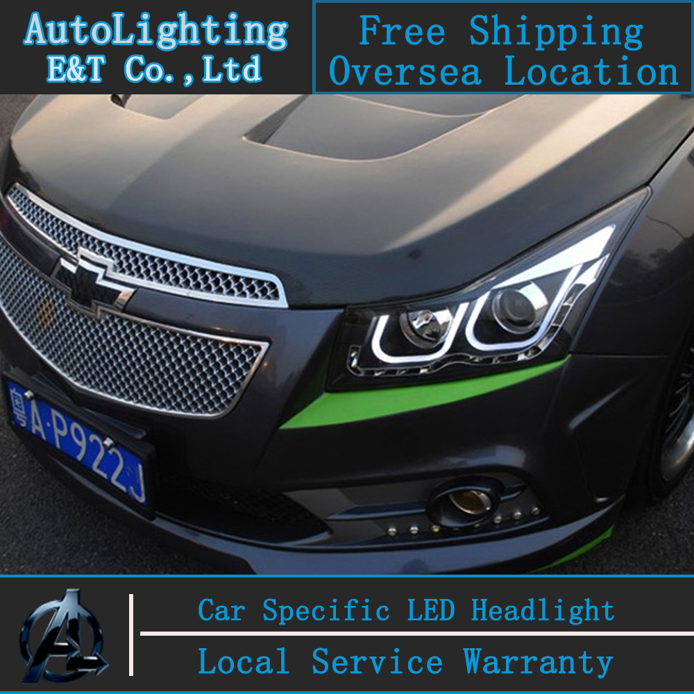 Car styling head lamp for chevrolet cruze headlights 2009 2014 led headlight double u led