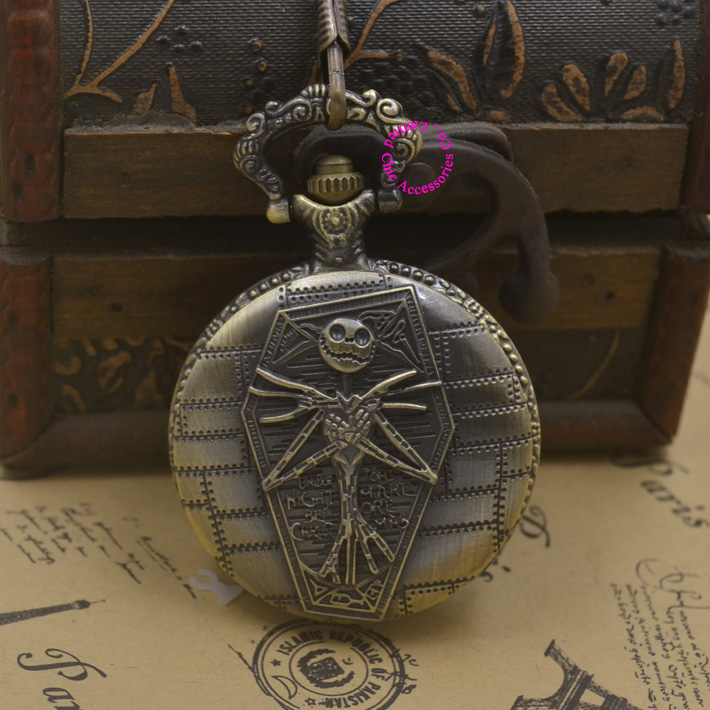Nightmare Before Christmas Zombie.Woman Pocket Watch Hot The Nightmare Before Christmas Pendant Necklace Quartz Fob Watches Man Skull