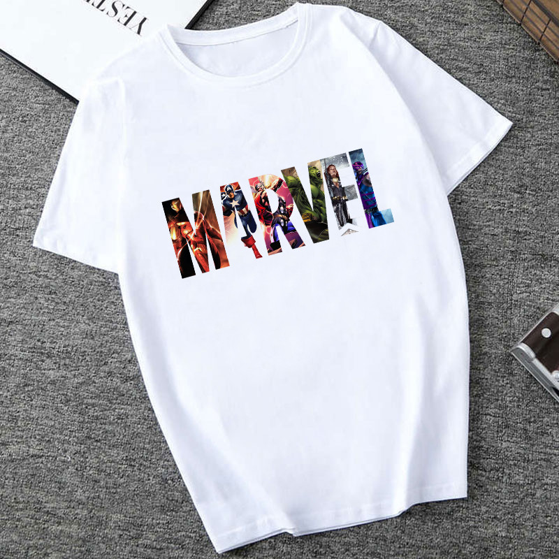 Showtly Cool Captain America Marvel Letter Print T Shirt Harajuku Fashion Summer Top Female T-shirt White Funny Women T-shirt