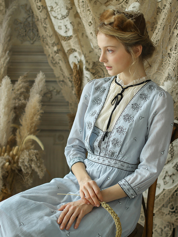 LYNETTE'S CHINOISERIE automne hiver Design Original femmes Slim Victoria Vintage Mori filles broderie coton robes Ramie