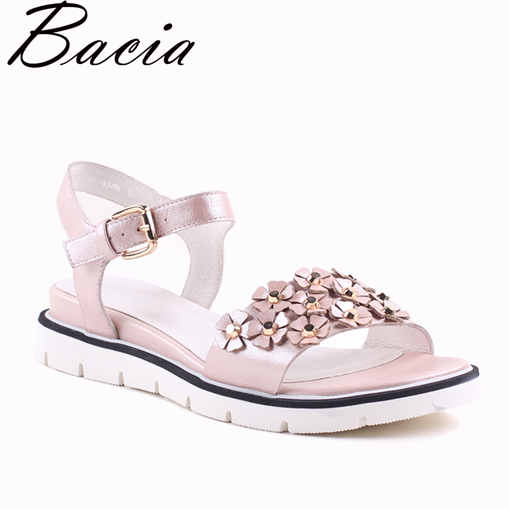 Bacia Women Genuine Leather Sandals Fashion Women Flat Sandals Gril Summer Shoes Ladies Sandals Girls Floral White Shoes VXA001 2018 new summer women sandals shoes fashion comfortable girls sandals footwear flat sexy causal ladies solid women shoes est1009