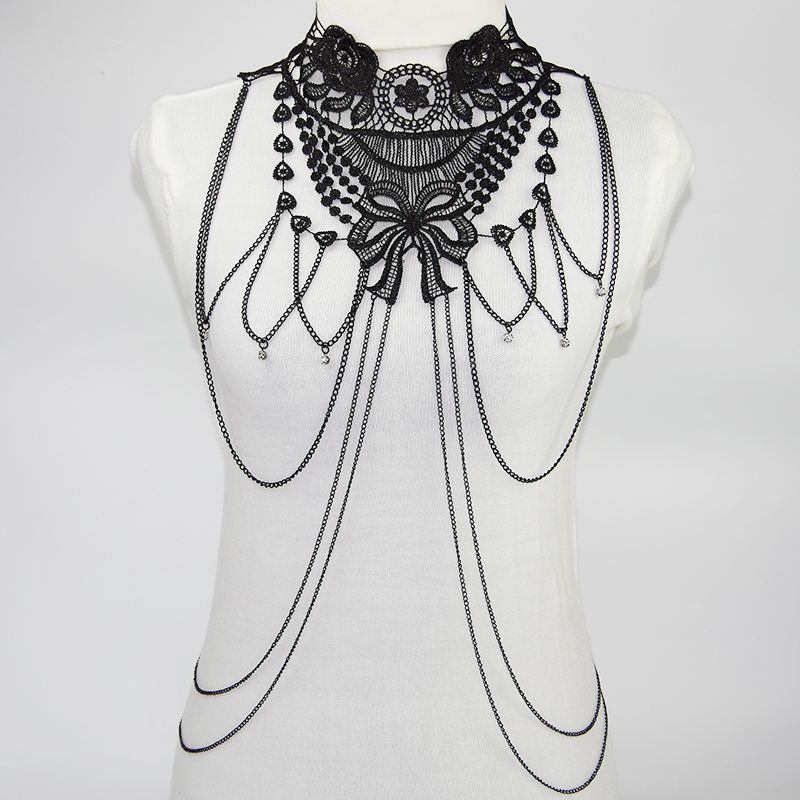 Goth, Black, Lace Necklace Bathory