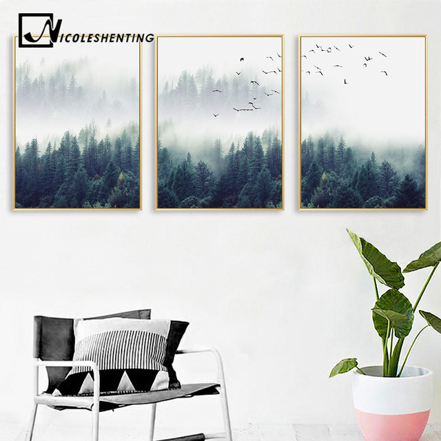 Nordic Forest Lanscape Wall Art Canvas Poster Print Painting Decorative Picture Living Room Home