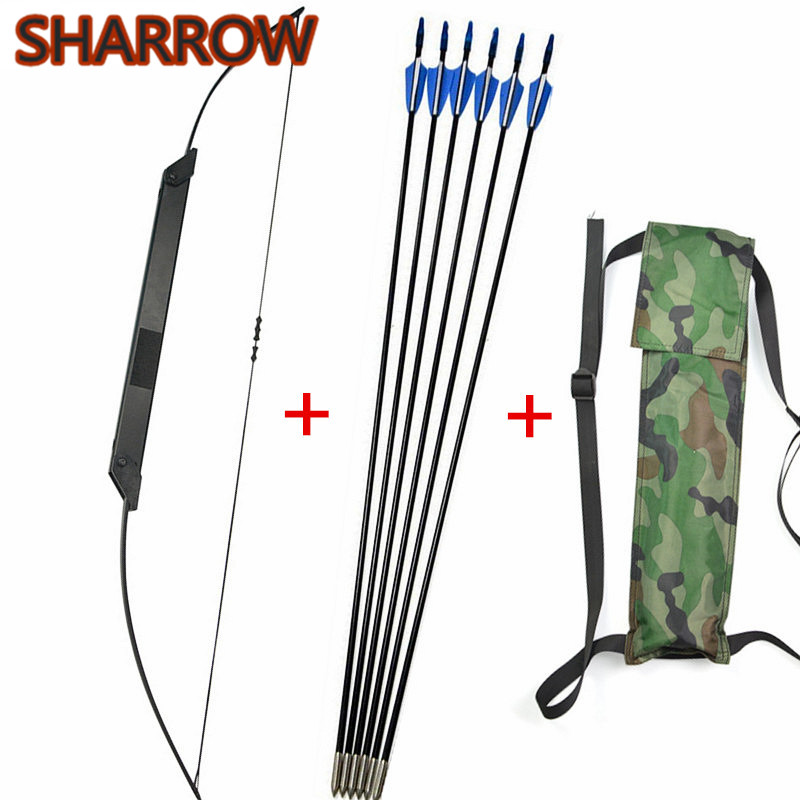 1Set 54 30 50lbs Folding Recurve Bow Fishing Straight Bow 6pcs Glassfiber Arrow Arrow Quiver For