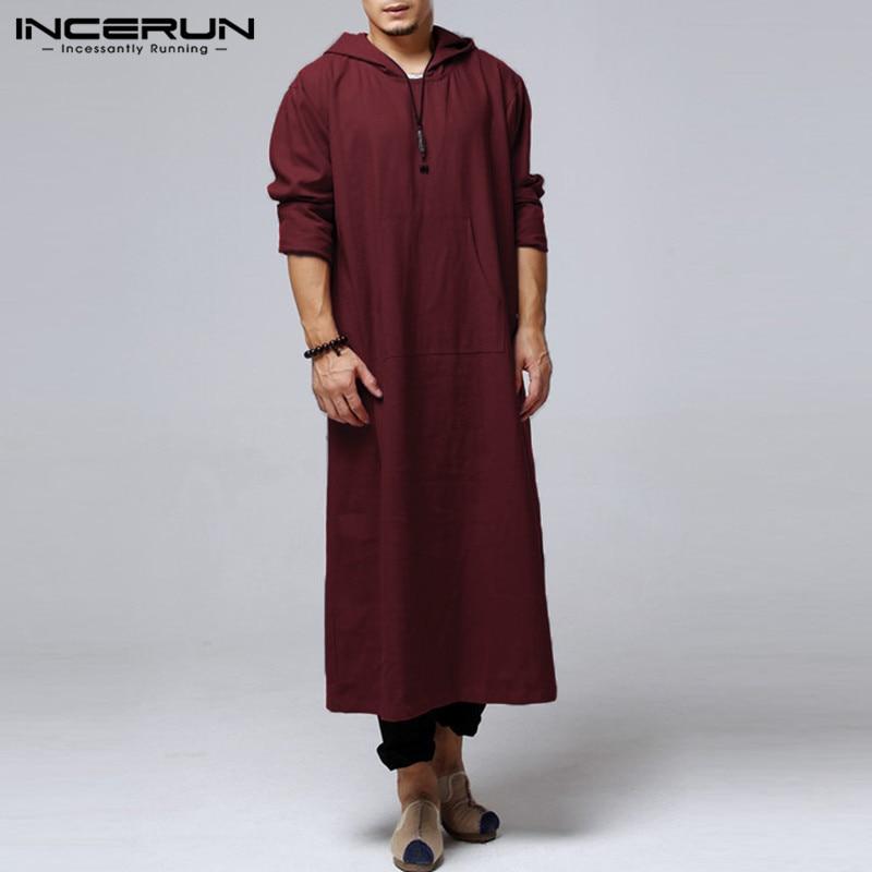 Brand Retro Men Hoodies Robe Long Sleeve Cotton Full Length Islamic Arab Kaftan Clothes Muslim Costume Ethnic Gown Solid