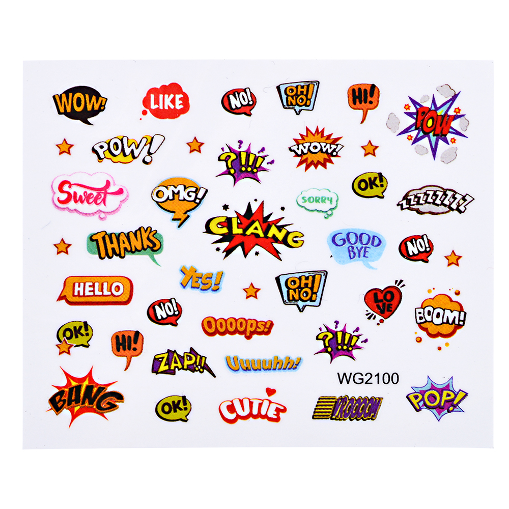Sweet trend 1 sheet nail art water transfer stickers boom bang pop pattern watermark decals nail design manicure decor lawg2100 in stickers decals from