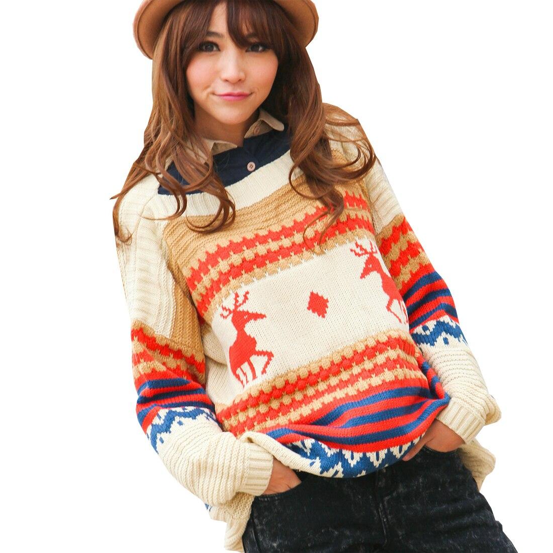 YJSFG HOUSE Women New Christmas Sweater Thick Deer Long Sleeve Loose Knit Sweater Jumper Knitwear Outwear Pullover Winter Warm