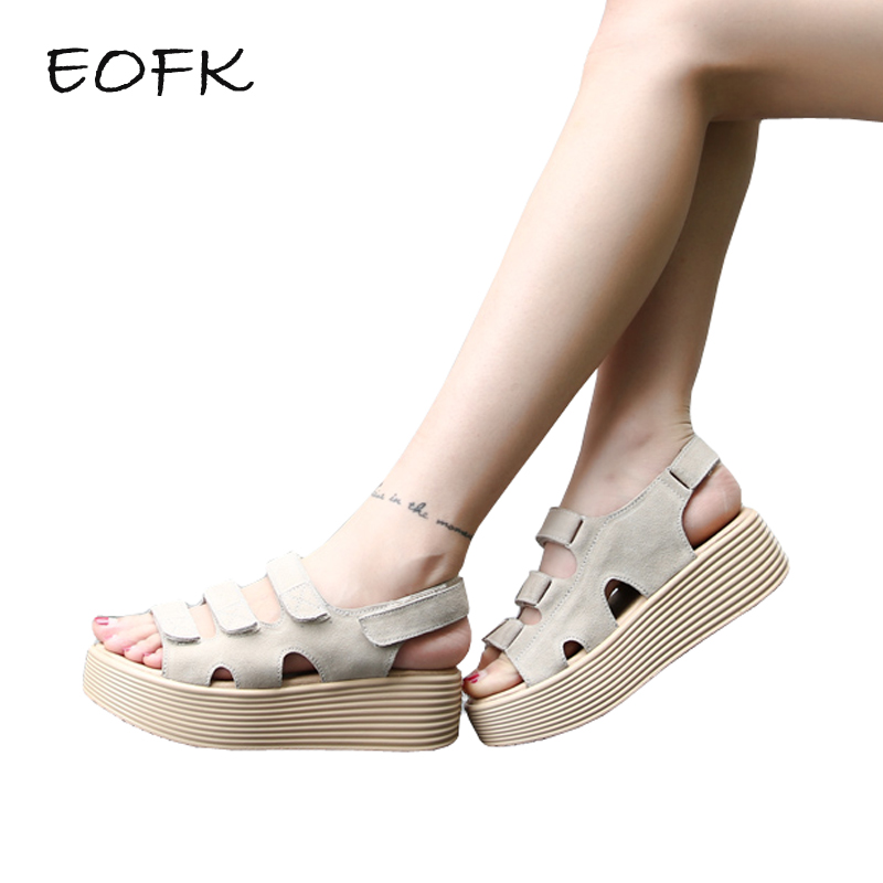 EOFK 2018 New Summer Women Sandals Flat Platform Shoes Woman Suede Leather Fashion Ladies Casual Sandals new 2017 summer women sandals european fashion simple flat sandals with flat sandals serpentine t type leather shoes women