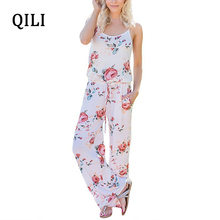 QILI Women Casual Beach Jumpsuits Romper Sleeveless Bow Flower Printed Wide Let Jumpsuit Elegant Ladies Fashion Summer Overalls