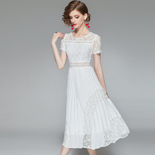 White Dress Summer 2019 Womens New Fashion Round Neck Short Sleeved Hollow Out Slim Solid Color Elegant Pleated Midi S-XL