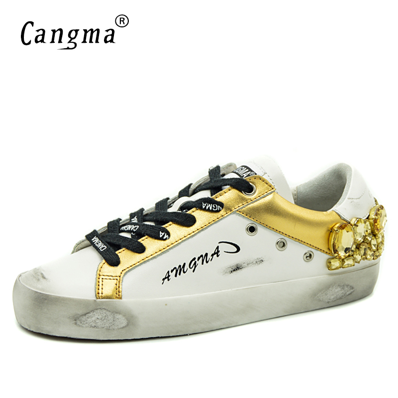 CANGMA Original Brand Gold White Vintage Woman Shoes Diamond Genuine Leather Sneakers Flats Bass Scarpa Women Shoes Crystal-in Women's Flats from Shoes    3