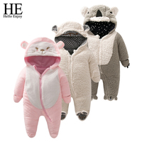 HE Hello Enjoy Winter Baby Costume Infant Romper Baby Clothing Warm Hooded Kids Jumpsuit Baby Girl
