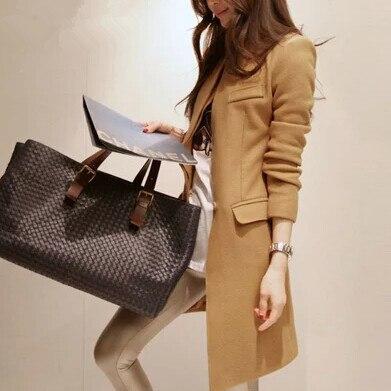 Manteau femme Nouvelle Mode femme Mince Longues Sections Laine Mélangée Manteau D'hiver Manteau Femme Grande Taille