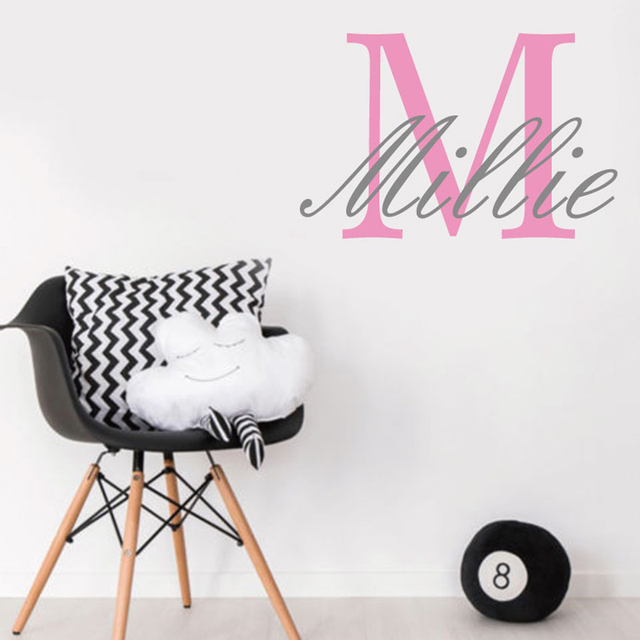 custom name personalise kids baby girl bedroom wall sticker nursery