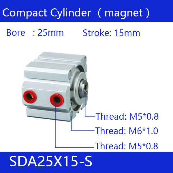 SDA25*15-S Free shipping 25mm Bore 15mm Stroke Compact Air Cylinders SDA25X15-S Dual Action Air Pneumatic Cylinder, Magnet sda16 70 s free shipping 16mm bore 70mm stroke compact air cylinders sda16x70 s dual action air pneumatic cylinder magnet