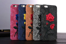 Art Handmade Flower Elegant Retro Cell Phone Cases For iPhone 6 6plus 7 7Plus 8 8Plus Chic Rose Embroidery Mobile Cover Bags