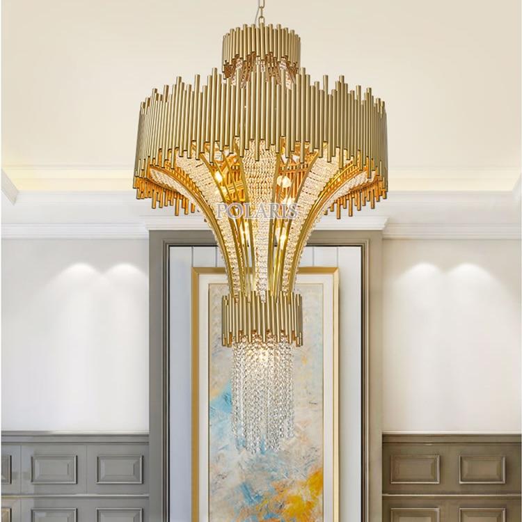 Modern Large Big Hotel Crystal Chandelier Light Luxury Restaurant Wedding Stair Case Cristal Chandeliers Hanging Lighting