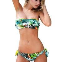 2017 Sexy Floral Halter Flounced Biquini Bandage Swimsuit Crop Tropical Beachwear Bathing Suit Swimwear Women Brazilian
