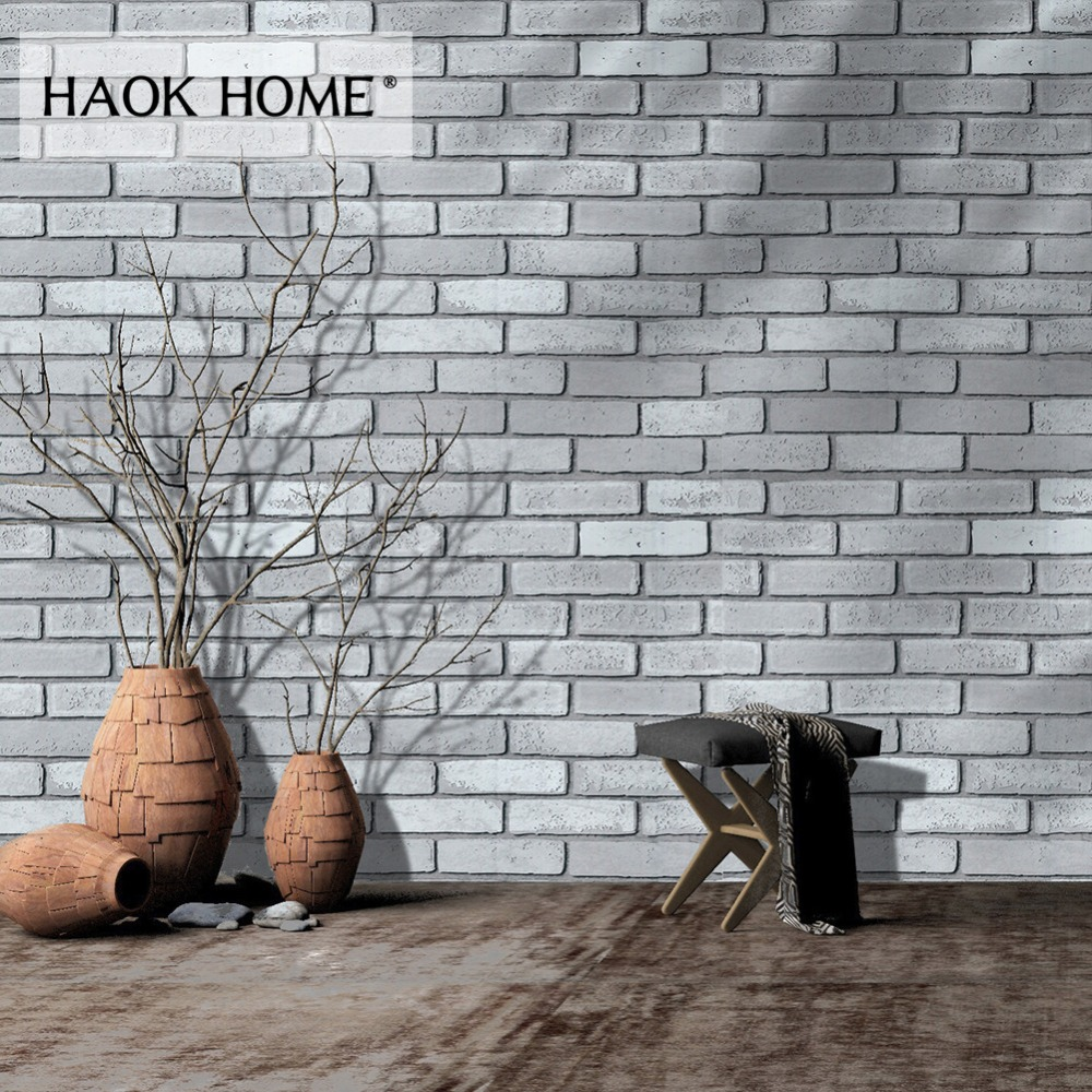 HaokHome Vintage Brick Wallpaper 0.45m*6m Vinyl Contact paper Wall Covering For Wall 3D Grey Stone Bedroom Living room Decor vintage 3d stone brick wall wallpaper pvc waterproof wall paper bedroom living room wall decoration vinyl wallpaper for walls 3d