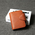 100% top layer cowhide leather large capacity Credit Card ID Holders brown bus card  short Wallet Coin Purse For Man