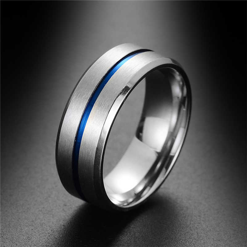 Fashion Thin Blue Line Pure Tungsten Carbide High Quality Ring For Man Jewelry Wedding Engagement Gifts