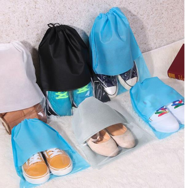 1Pc S/L Reusable Travel Organizer Drawstring Bag Waterproof Shoes Storage Bag Pouch Portable Cover Non-Woven Laundry Organizer