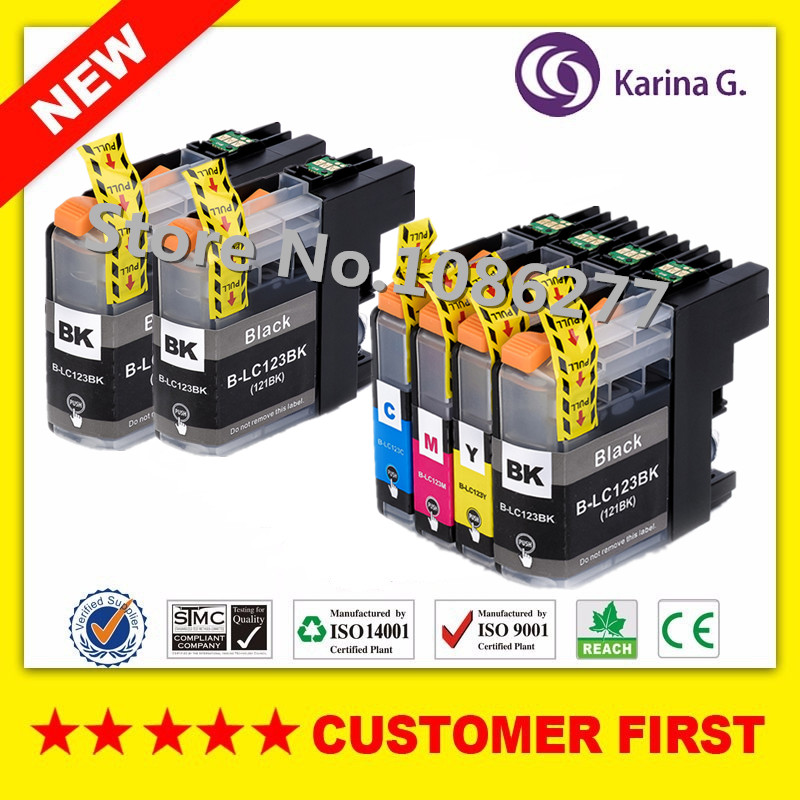 6X Ink Cartridge untuk Brother LC123 mfc-J4510DW MFC-J4610DW Cartridge Ink Pencetak LC 123 MFC-J4410DW J4710DW