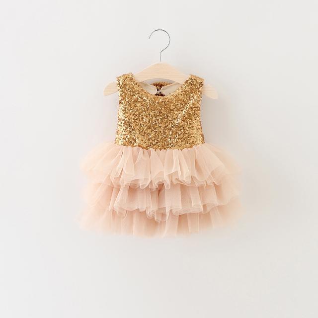 Ropa de las muchachas del verano 2017 lentejuelas de oro dress para el cumpleaños de noche prom party pink puffy tutu dress para bebés y niños niñas ropa