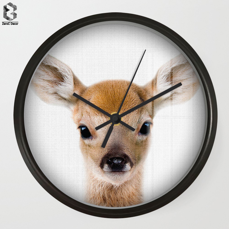 Chic Art Wall Clocks Deer For Kids Room Wall Decor, Table Decorative Mute Quartz Clock Nordic Saat Nursery Home Decoration